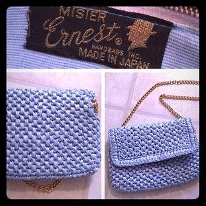 Vintage Raffia Purse Handbag Light Baby Blue
